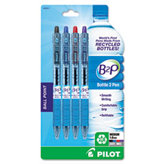 Pilot B2P Bottle-2-Pen Recycled Retractable Ball Point Pen, Assorted Ink, 1mm, 4/Pack
