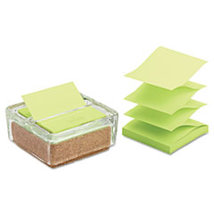 Post-it Greener Notes Glass & Cork Pop-Up Note Dispenser, Clear, with 50-Sheet Greener Note Pad