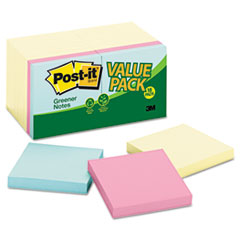 Post-it Greener Notes Recycled Note Pad Value Pack, 3 x 3, Canary and Sunwashed Pier, 18 Pads per Pack