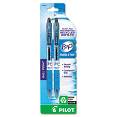 Pilot B2P Bottle-2-Pen Recycled Retractable Ball Point Pen, Black Ink, 1mm, 2/Pack