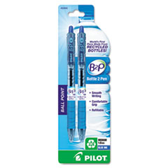Pilot B2P Bottle-2-Pen Recycled Retractable Ball Point Pen, Blue Ink, 1mm, 2/Pack