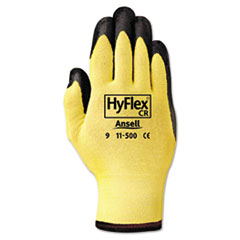 AnsellPro GLOVES HFLX CR CUTRES XL Hyflex Ultra Lightweight Assembly Gloves, Black-yellow, Size 10, 12 Pairs
