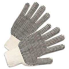 Anchor Brand® GLOVES KNIT PVC DOT STRNG PVC-DOTTED STRING KNIT GLOVES, NATURAL WHITE-BLACK, LARGE, 12 PAIRS