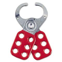 """Master Lock® LOCK SAFETY 1-1-2"""" JAWS Steel Lockout Hasp, Steel-vinyl, 2 3-8"""", Red"""