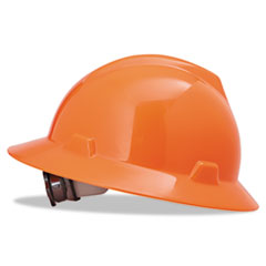MSA V-Gard Hard Hats, Ratchet Suspension, Size 6 1/2 - 8, High-Viz Orange