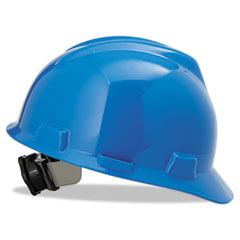MSA V-Gard Hard Hats, Fas-Trac Ratchet Suspension, Size 6 1/2 - 8, Blue