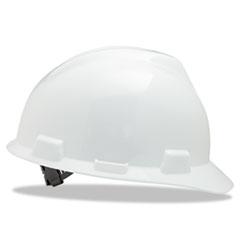 MSA V-Gard Hard Hats, Staz-On Pin-Lock Suspension, Size 6 1/2 - 8, White