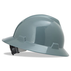 MSA V-Gard Hard Hats, Fas-Trac Ratchet Suspension, Size 6 1/2 - 8, Gray