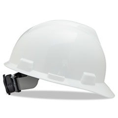 MSA V-Gard Hard Hats, Fas-Trac Ratchet Suspension, Size 6 1/2 - 8, White