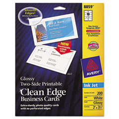 Avery Premium Clean Edge Business Cards, 2 x 3 1/2, Glossy White, 200/Pack