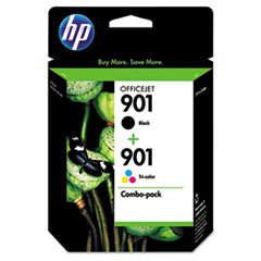 HP 901, (CN069FN) 2-pack Black/Tri-color Original Ink Cartridges