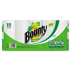 Bounty Perforated Paper Towels, 9 x 10.4, White, 48 Sheets/Roll, 15/Pack