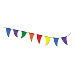 COSCO Strung Flags, Pennant, 30', Assorted Bright Colors