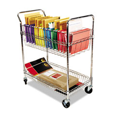 Alera Wire Mail Cart, 2-Shelf, 34-1/4w x 21-1/2d x 39-1/2h, Chrome