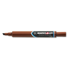 Marks-A-Lot Permanent Marker, Large Chisel Tip, Brown, Dozen