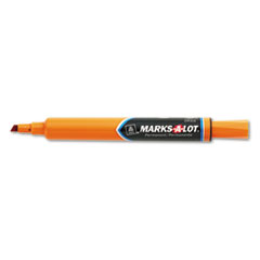 Marks-A-Lot Permanent Marker, Large Chisel Tip, Orange, Dozen