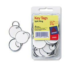 Avery Metal Rim Key Tags, Card Stock/Metal, 1 1/4 dia, White, 50/Pack