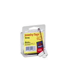 Avery Jewelry Tags, Paper, 13/16 x 3/8, White, 100/Pack