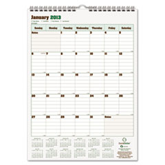Blueline DuraGlobe Monthly Wall Calendar, 12 x 17, 2013