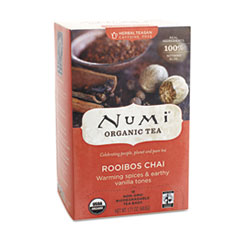 Numi Organic Teas and Teasans, 1.71 oz, Rooibos Chai, 18/Box