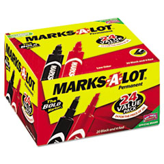 Marks-A-Lot Permanent Markers, Regular Chisel Tip, Red, Black, 24/Pack