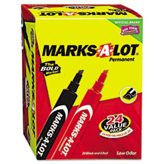 Marks-A-Lot Permanent Marker, Large Chisel Tip, Assorted, 24/Set