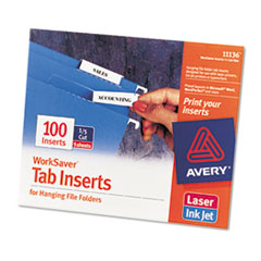 Avery Printable Inserts for Hanging File Folders, 1/5 Tab, Two Inch, White, 100/Pack