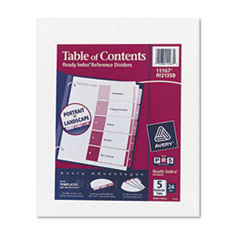 Avery Ready Index Table/Contents Dividers, 5-Tab, Letter, Assorted, 24 Sets/Box