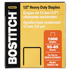 Stanley Bostitch Heavy-Duty Staples, 1/2 Inch Leg, 100 Strip Count, 1,000/Box