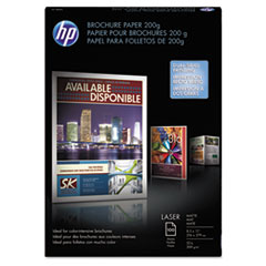 HP Laser Matte Brochure Paper, 52 lb., 8-1/2 x 11, White, 100 Sheets/Pack
