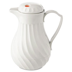 Hormel Poly Lined Carafe, Swirl Design, 64oz Capacity, White