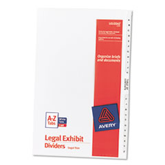 Avery-Style Legal Side Tab Divider, Title: A-Z, 14 x 8 1/2, White, 1 Set
