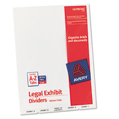 Avery-Style Legal Bottom Tab Divider, Title: Exhibit A-Z, Letter, White