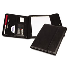 Samsill Professional Tri-Fold Padfolio w/Calculator, Writing Pad, Vinyl, Black