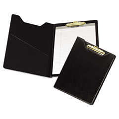 Samsill Pad Holder, Heavyweight Sealed Vinyl, Brass Clip, Inside Front Pocket, Black