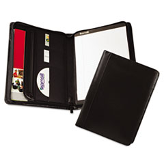Samsill Leather Zipper Padfolio w/Writing Pad, Organizer Slots, Black