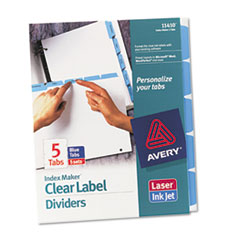 Avery Index Maker Divider w/Color Tabs, Blue 5-Tab, Letter, 5 Sets/Pack