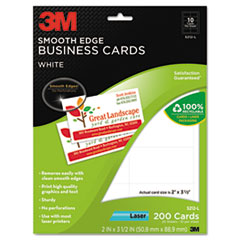 3M Smooth Edge Business Cards, Laser, 2 x 3 1/2, White, 200/PK