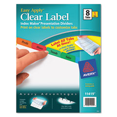 Avery Index Maker Divider w/Multicolor Tabs, 8-Tab, Letter, 5 Sets/Pack
