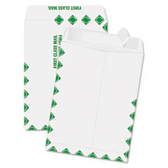 Quality Park Redi-Strip Catalog Envelope, 9 x 12, First Class Border, White, 100/Box