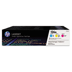 CF341A (HP 126A) Toner Cartridge, 1000 Page-Yield, Cyan; Magenta; Yellow, 3/Pk
