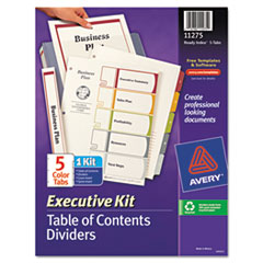 Avery Ready Index Contents Dividers, 5-Tab, 1-5, Letter, Multicolor, Set of 5