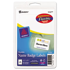 AVE 5152 Avery Flexible Self-Adhesive Name Badge Labels AVE5152