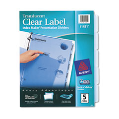 Avery Index Maker Clear Label Punched Dividers, Blue 5-Tab, Letter