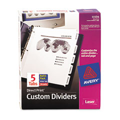 Avery Direct Print Punched Presentation Dividers, 5-Tab, Letter, White, 24 Sets/Box