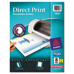 Avery Direct Print Punched Presentation Dividers, 8-Tab, Letter, White, 4 Sets/Pack