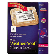 Avery White Weatherproof Laser Shipping Labels, 5-1/2 x 8-1/2, 100/Pack