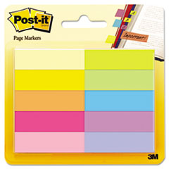 Post-it Page Markers, Five Assorted Bright Colors, 10 Pads of 50 Sheets per Pack