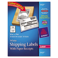 Avery Shipping Labels with Paper Receipt, 5 1/16 x 7 5/8, White, 50/Pack