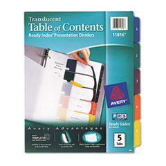Avery Ready Index Table/Contents Dividers, 5-Tab, Letter, Assorted, 5/Set
